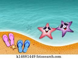 starfish in love at sun