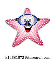 starfish with snorkel mask