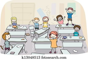 Stick Kids in Messy Classroom