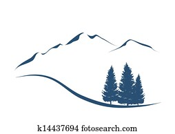 stilisiert, abbildung, ausstellung, ein, alpin, landschaft, mit, bergwelt, und, tannen