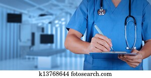 success smart medical doctor with operating room