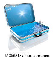 Summer vacation concept. Travel suitcase with Swimming pool inside