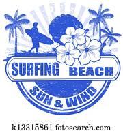surfen, sandstrand, briefmarke
