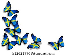 Swedish flag butterflies, isolated on white background