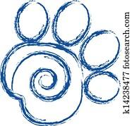 Swirly paw print logo vector