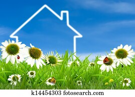 Symbol of a house on green sunny field