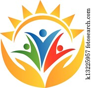 Teamwork hands and sun logo