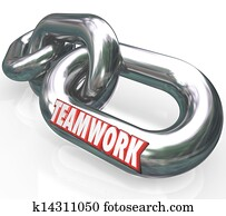 Teamwork Word on Chain Links Connected Team Partners