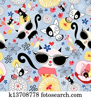 Texture of funny kittens