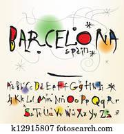 The alphabet in style Spanish artist of Joan Miro
