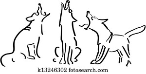 Three howling dogs