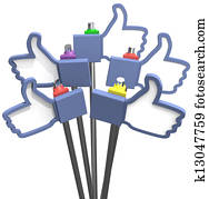 Thumbs up facebook like us icons