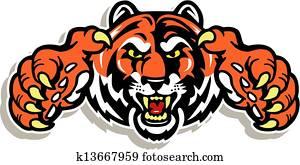 tiger, gesicht, mit, klauen