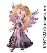 Toon Fairy Princess in Purple Dress