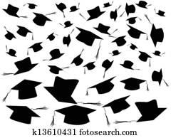 Tossing graduation caps background