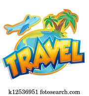 travel sign with palms and airplane on white background