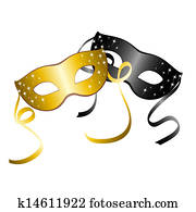 Two carnival masks. Vector