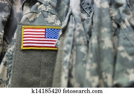 U.S. flag patch on the army uniform