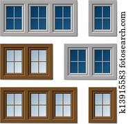 fenêtre en plastique de vecteur sur blanc et brun