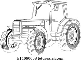 Vector drawing tractor