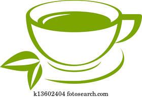 Vector icon of green tea cup