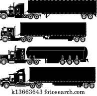 Vector Trucks Silhouettes Set