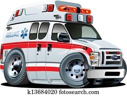 vektor, karikatur, krankenwagen, auto