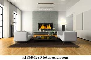 View on the modern interior with fireplace
