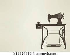 vintage Sewing Machine sillhouette