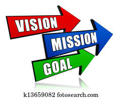 vision, mission, goal in arrows