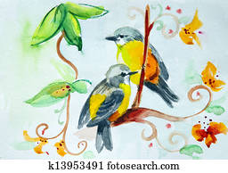 Watercolor drawing of birds on the flowers