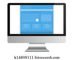 Web Site, Computer Monitor on white
