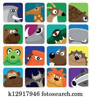 Wildlife animals set icon
