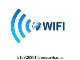 Wireless wifi blue symbol icon with earth
