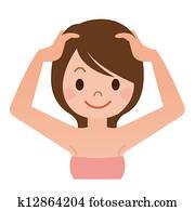 Women have a head massage