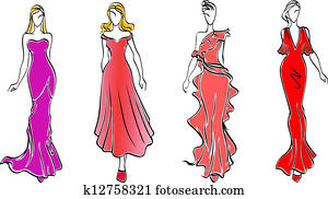 Womens in evening dresses
