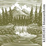 Woodcut Waterfall Wilderness