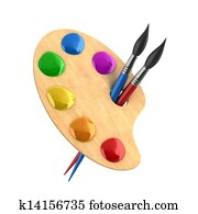 wooden art palette with paints and