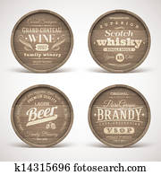 Wooden casks with alcohol drinks