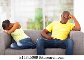 young african couple having conflict