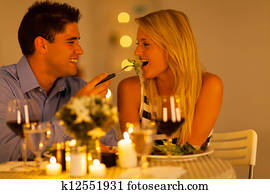 young couple romantic dinner