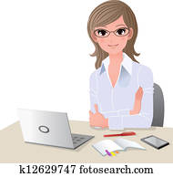 Young woman at desk with copy space
