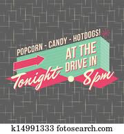 1950s, drive-in, stil, logo, design