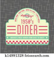 1950s, esslokal, stil, logo, design