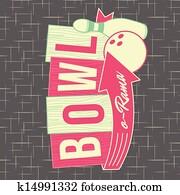 1950s, kegeln, stil, logo, design
