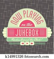 1950s, musikbox, stil, logo, design