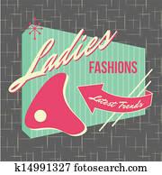 1950s, storefront, stil, logo, design