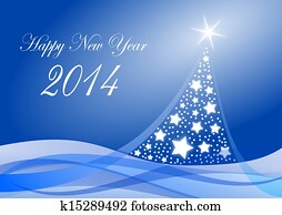 2014 new years illustration with christmas tree