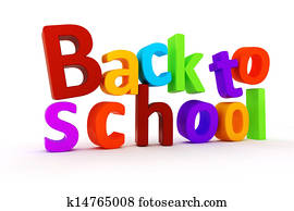 3d back to school text on white background