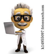3d cartoon Professor with laptop